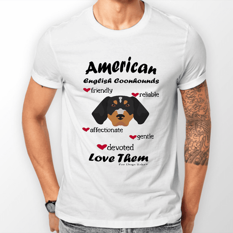 For Dogs Sake! S Men's White 'Love Them' American English Coonhound  T-Shirt by For Dogs Sake!®