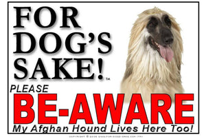 For Dogs Sake! Image1 / Adhesive Vinyl Afghan Hound Be-Aware Sign