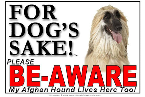 Image of For Dogs Sake! Image1 / Adhesive Vinyl Afghan Hound Be-Aware Sign