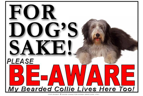 For Dogs Sake! Image2 / Adhesive Vinyl Bearded Collie Be-Aware Sign