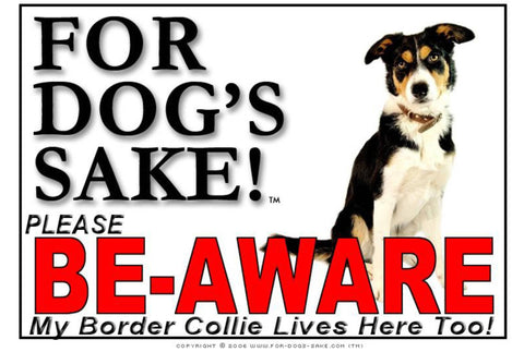 For Dogs Sake! Image1 / Adhesive Vinyl Border Collie Be-Aware Sign