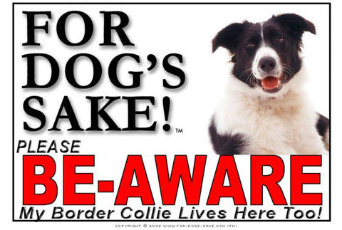 Image of For Dogs Sake! Image1 / Adhesive Vinyl Border Collie Be-Aware Sign