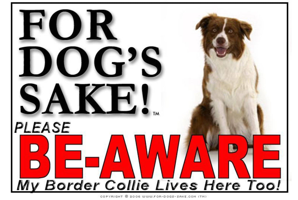 For Dogs Sake! Image7 / Adhesive Vinyl Border Collie Be-Aware Sign