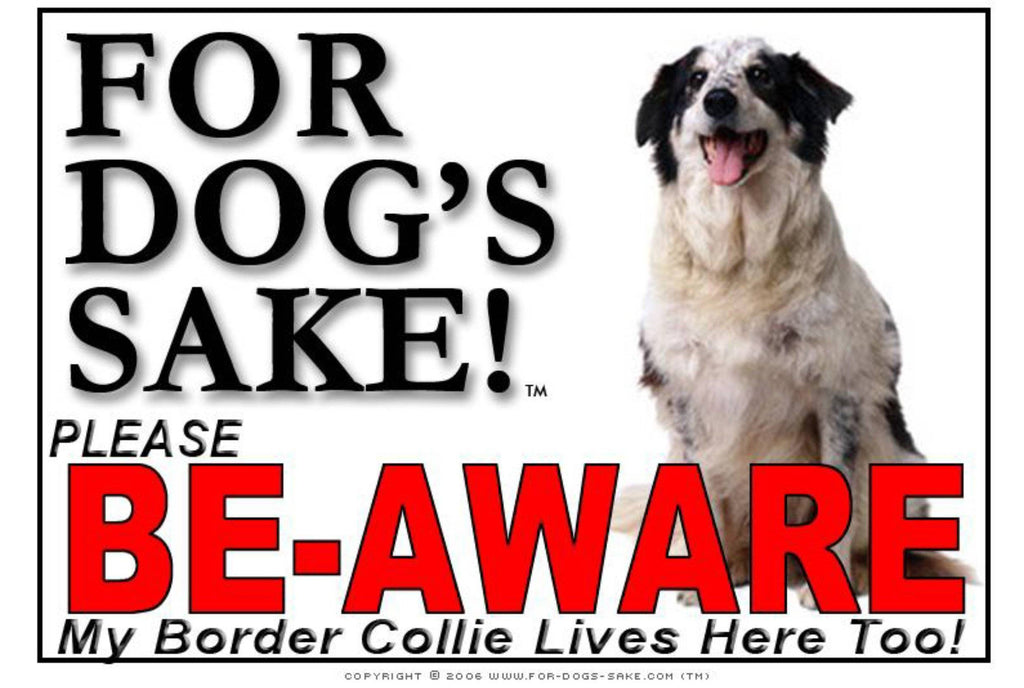 For Dogs Sake! Image8 / Adhesive Vinyl Border Collie Be-Aware Sign