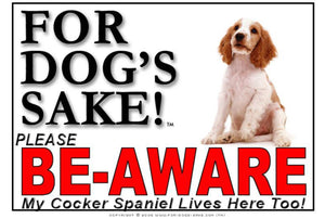 For Dogs Sake! Image1 / Foamex PVCu English Cocker Spaniel Be-Aware Sign