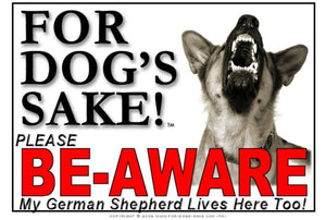 For Dogs Sake! Image1 / Adhesive Vinyl German Shepherd Be-Aware Sign