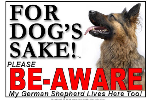 Image of For Dogs Sake! Image2 / Adhesive Vinyl German Shepherd Be-Aware Sign