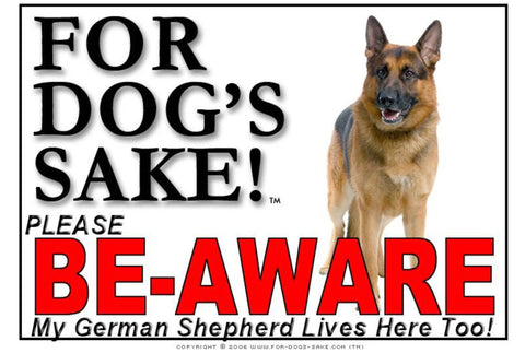 Image of For Dogs Sake! Image3 / Adhesive Vinyl German Shepherd Be-Aware Sign