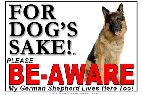 For Dogs Sake! Image4 / Adhesive Vinyl German Shepherd Be-Aware Sign