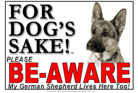 Image of For Dogs Sake! Image5 / Adhesive Vinyl German Shepherd Be-Aware Sign
