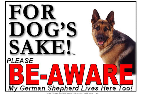 Image of For Dogs Sake! Image8 / Adhesive Vinyl German Shepherd Be-Aware Sign