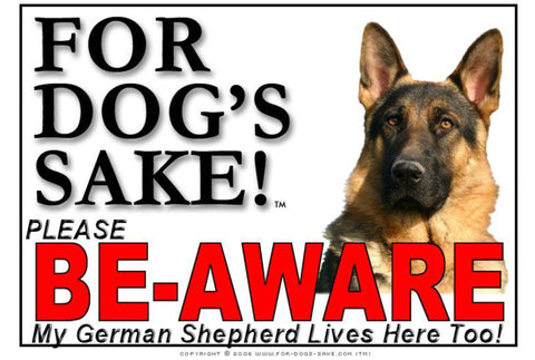 Image of For Dogs Sake! Image9 / Adhesive Vinyl German Shepherd Be-Aware Sign