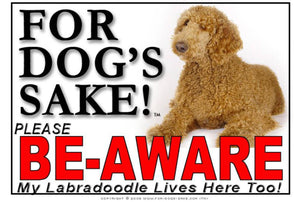 For Dogs Sake! Image1 / Adhesive Vinyl Labradoodle Be-Aware Sign