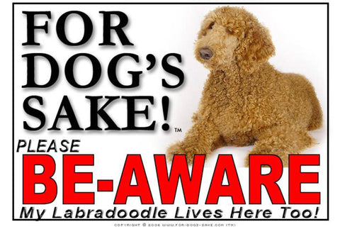 Image of For Dogs Sake! Image1 / Adhesive Vinyl Labradoodle Be-Aware Sign