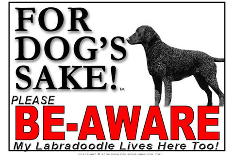 Image of For Dogs Sake! Image3 / Adhesive Vinyl Labradoodle Be-Aware Sign
