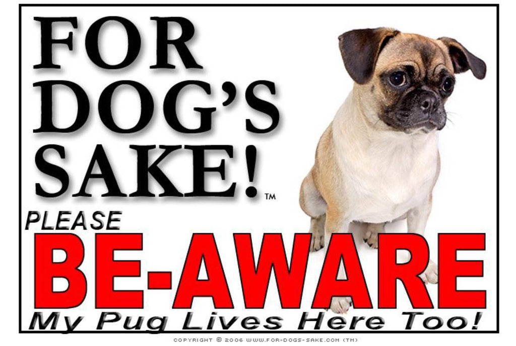 For Dogs Sake! Image1 / Adhesive Vinyl Pug Be Aware Sign by For Dogs Sake!®