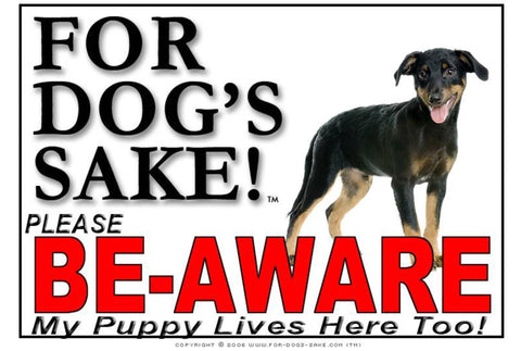 Image of For Dogs Sake! Image1 / Adhesive Vinyl Puppy Be Aware Sign