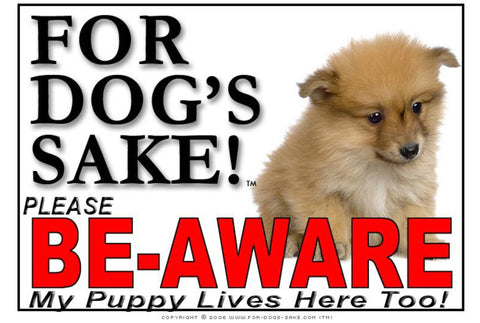 Image of For Dogs Sake! Image23 / Adhesive Vinyl Puppy Be Aware Sign