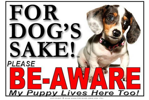 Image of For Dogs Sake! Image30 / Adhesive Vinyl Puppy Be Aware Sign