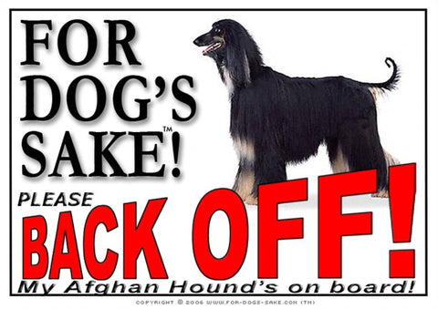 For Dogs Sake! Image1 / Adhesive Vinyl Afghan Hound Back off Sign