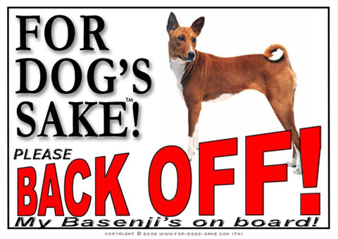 For Dogs Sake! Image1 / Adhesive Vinyl Basenji Back off Sign