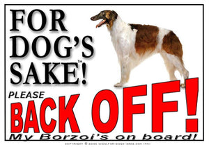 For Dogs Sake! Image1 / Adhesive Vinyl Borzoi Back off Sign