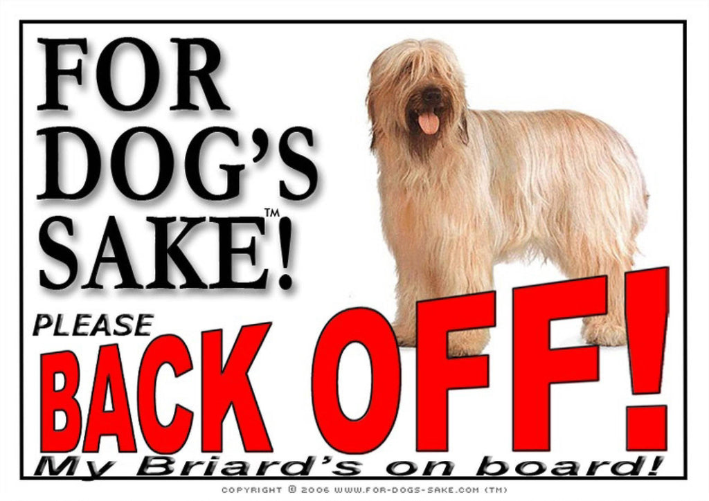 For Dogs Sake! Image1 / Adhesive Vinyl Briard Back off Sign
