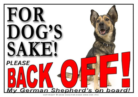 For Dogs Sake! Image10 / Adhesive Vinyl German Shepherd Back off Sign