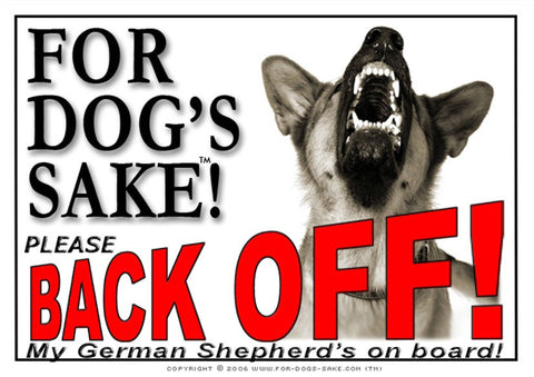 For Dogs Sake! Image1 / Adhesive Vinyl German Shepherd Back off Sign