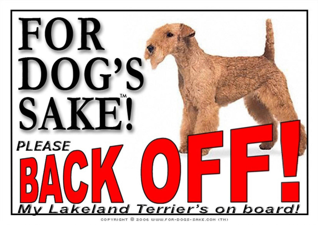 For Dogs Sake! Image1 / Adhesive Vinyl Lakeland Terrier Back off Sign