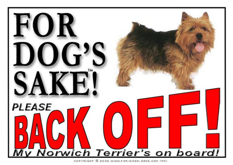 For Dogs Sake! Image1 / Adhesive Vinyl Norwich Terrier Back off Sign