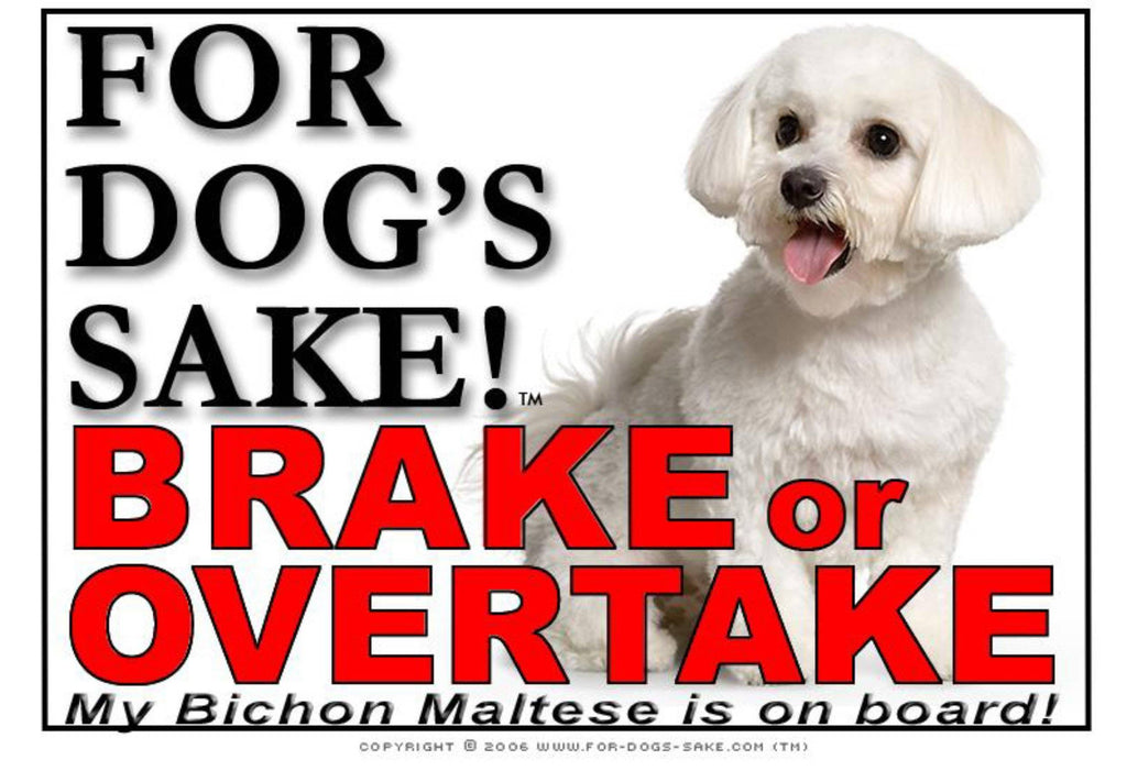 For Dogs Sake! Image1 / Adhesive Vinyl Bichon Maltese Brake or Overtake Sign