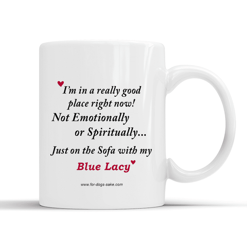 For Dogs Sake! Default Title Blue Lacy White Place Mug