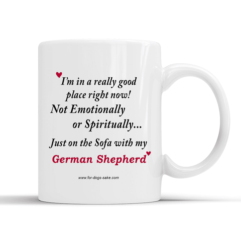 For Dogs Sake! Default Title German Shepherd White Glossy Mug 10oz