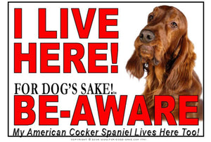 American Cocker SpanieI Live Here Sign