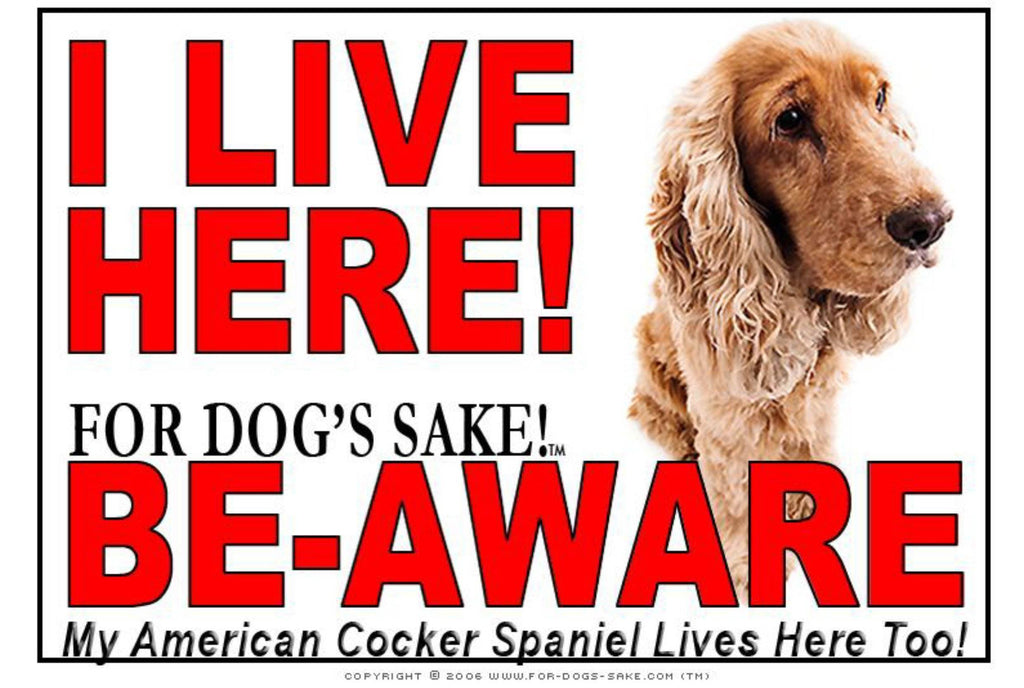 For Dogs Sake! Image13 / Adhesive Vinyl American Cocker SpanieI Live Here Sign