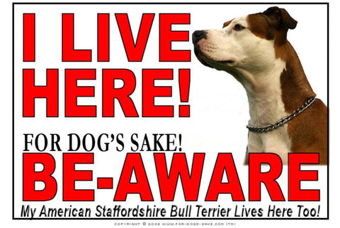 For Dogs Sake! Image6 / Adhesive Vinyl American Staffordshire Bull Terrier I Live Here Sign