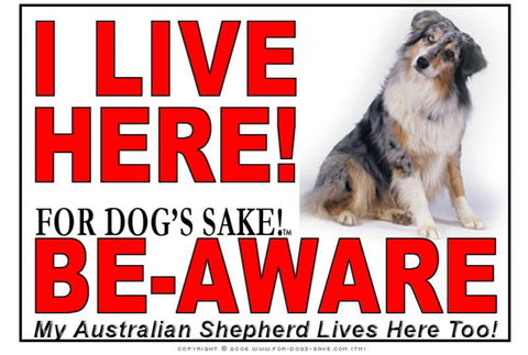 For Dogs Sake! Image2 / Adhesive Vinyl Australian Shepherd I Live Here Sign