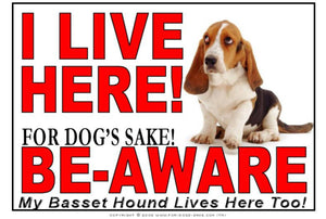 For Dogs Sake! Image1 / Adhesive Vinyl Basset Hound I Live Here Sign
