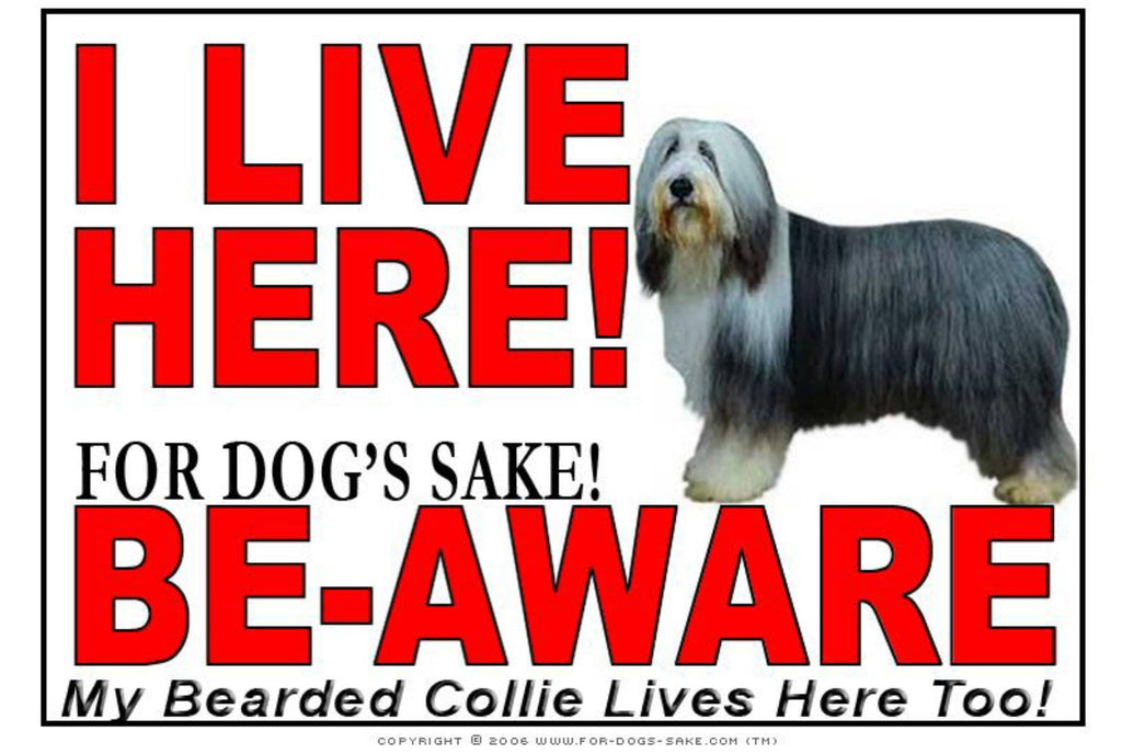 For Dogs Sake! Image1 / Adhesive Vinyl Bearded Collie I Live Here Sign