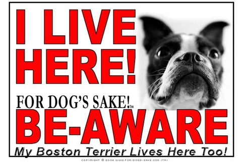 For Dogs Sake! Image1 / Adhesive Vinyl Boston Terrier I Live Here Sign
