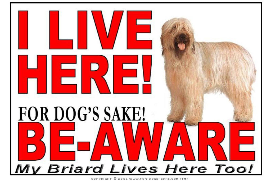 For Dogs Sake! Image1 / Adhesive Vinyl Briard I Live Here Sign