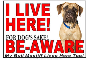 For Dogs Sake! Image1 / Adhesive Vinyl Bull Mastiff I Live Here Sign