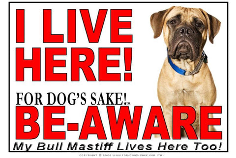 Image of For Dogs Sake! Image1 / Adhesive Vinyl Bull Mastiff I Live Here Sign