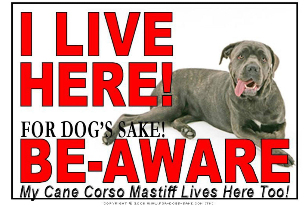 For Dogs Sake! Image1 / Adhesive Vinyl Cane Corso Mastiff I Live Here Sign