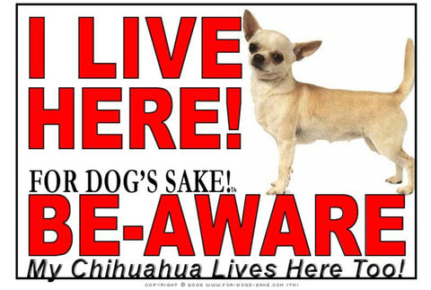 For Dogs Sake! Image8 / Adhesive Vinyl Chihuahua I Live Here Sign