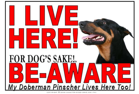 For Dogs Sake! Image1 / Adhesive Vinyl Doberman Pinscher I Live Here Sign
