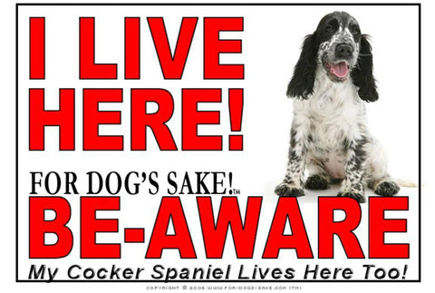 For Dogs Sake! Image1 / Adhesive Vinyl English Cocker Spaniel I Live Here Sign