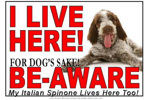 For Dogs Sake! Image1 / Adhesive Vinyl Italian Spinone I Live Here Sign