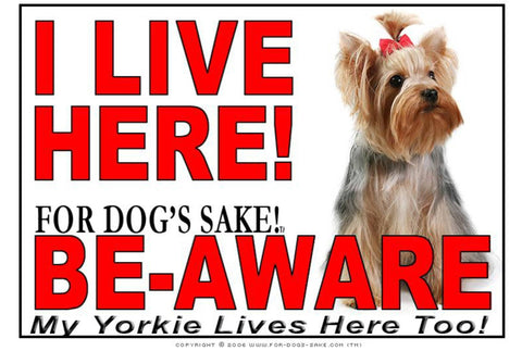 For Dogs Sake! Image1 / Adhesive Vinyl Yorkshire Terrier I Live Here Sign